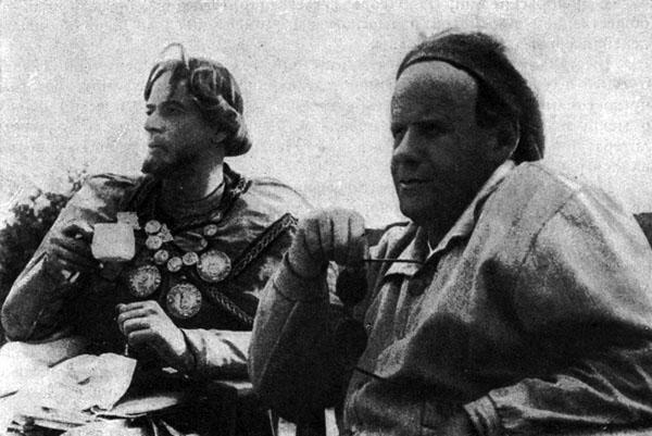 Режиссер Сергей Эйзенштейн и Николай Черкасов. Снимается фильм ледовое побоище.