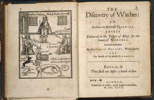 Книга Мэттью Хопкинса The Discovery of Witches (Раскрытие ведьм).1647 г.
