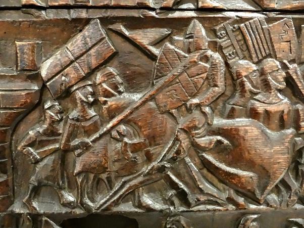 Атака французской конницы. Изображение на сундуке из Куртре.