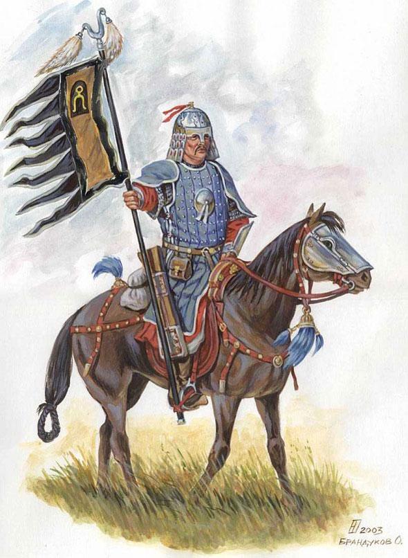 Знаменосец армии Тохтамыша в доспехе хатангу дегель