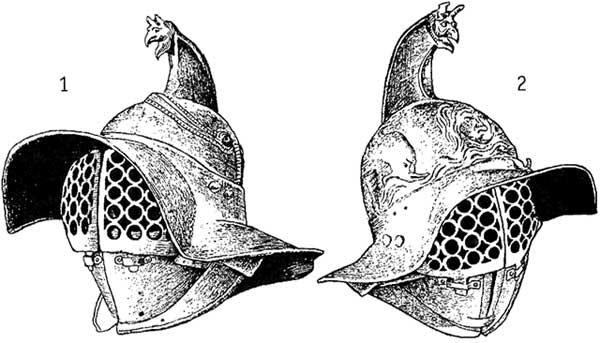 Шлемы гладиаторов из Геркуланума и Помпей