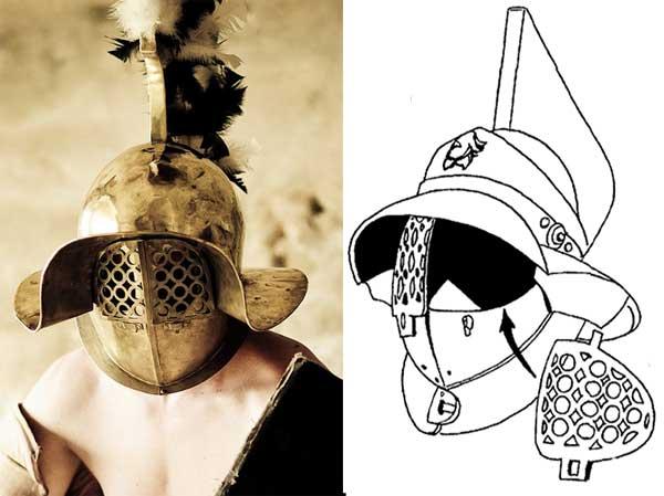 Защита глаз на шлеме гладиатора