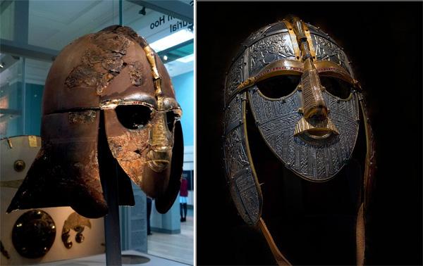 Оригинал и реплика шлема из Саттон-Ху